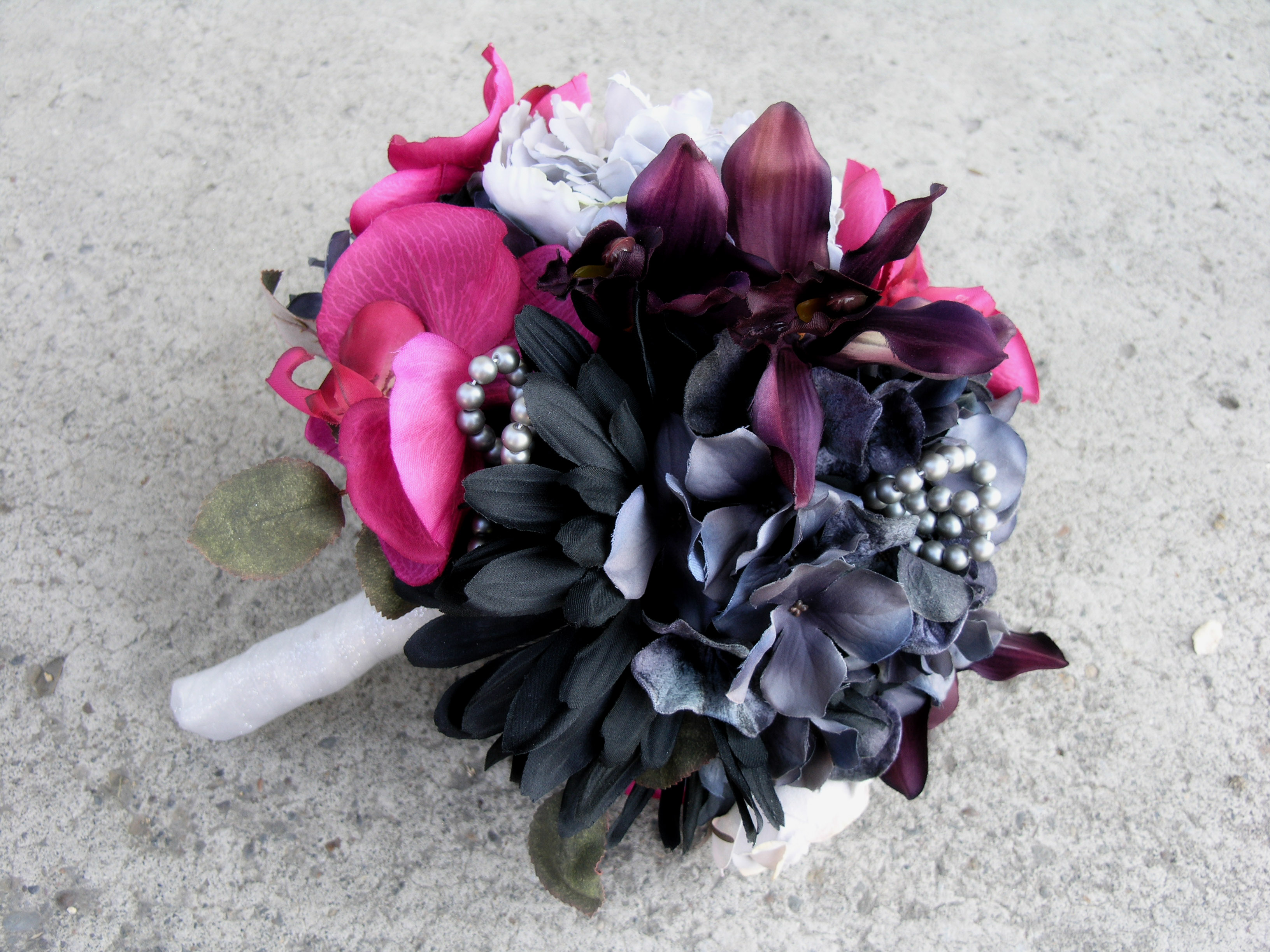 Hot pink wedding bouquet gray black wedding flowers set on luulla hot pink wedding bouquet gray black wedding flowers set mightylinksfo