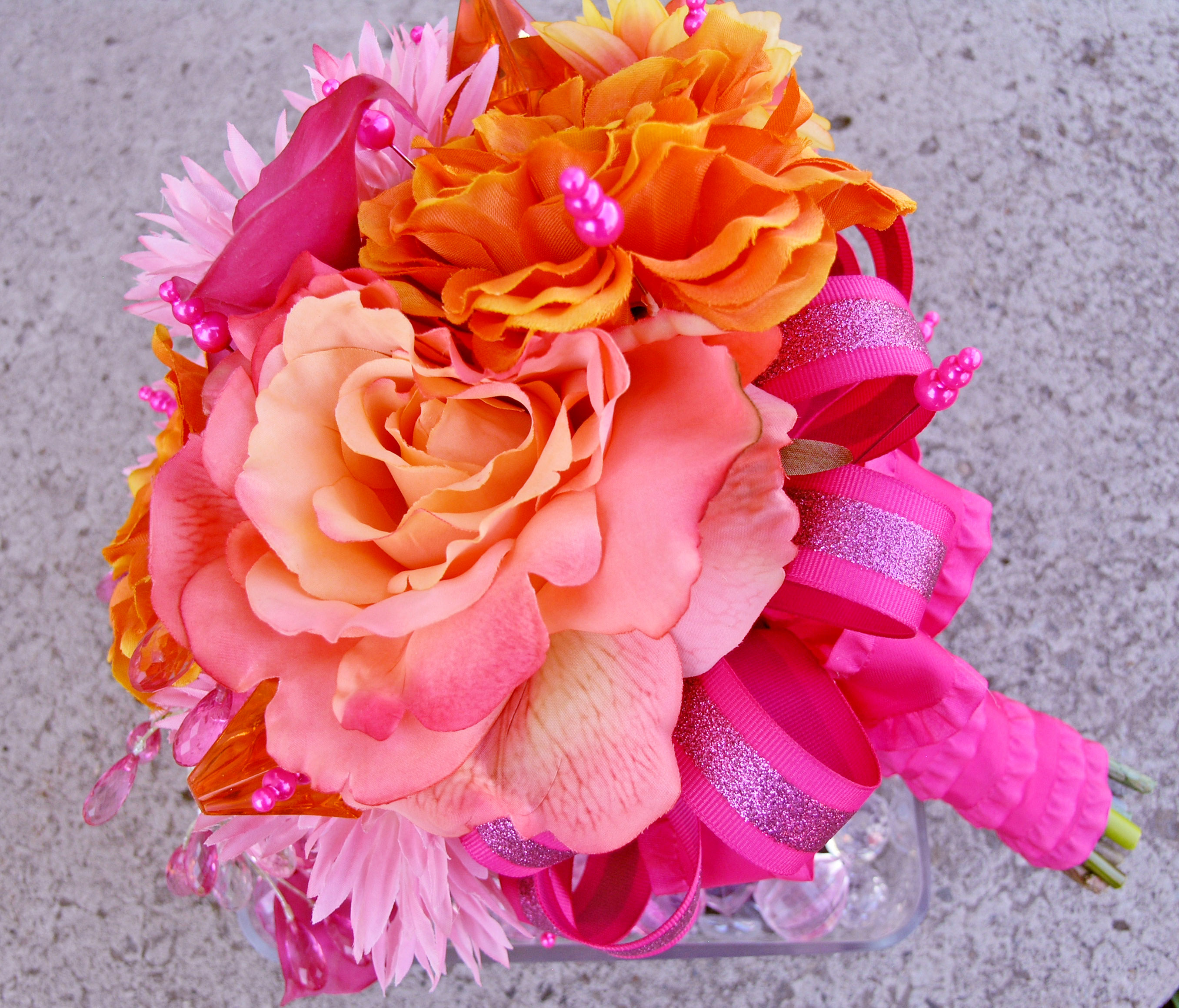 Pink Bridal Bouquet Orange Silk Wedding Flowers Rose Bouquet On Luulla